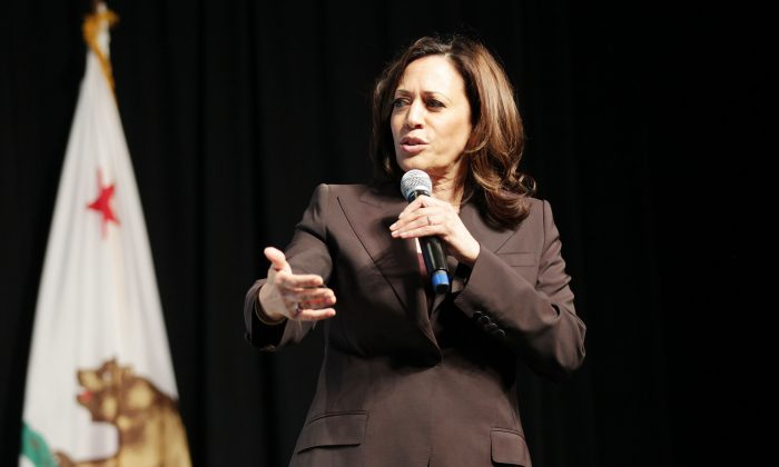 Kamala Harris speaks onstage at the MoveOn Big Ideas Forum at The Warfield Theatre in San Francisco, Calif., on June 1, 2019. (Miikka Skaffari/Getty Images for MoveOn)