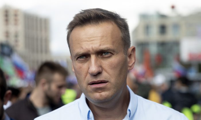 Russian opposition leader Alexei Navalny attends a protest in Moscow, on July 20, 2019. (Pavel Golovkin/AP Photo)
