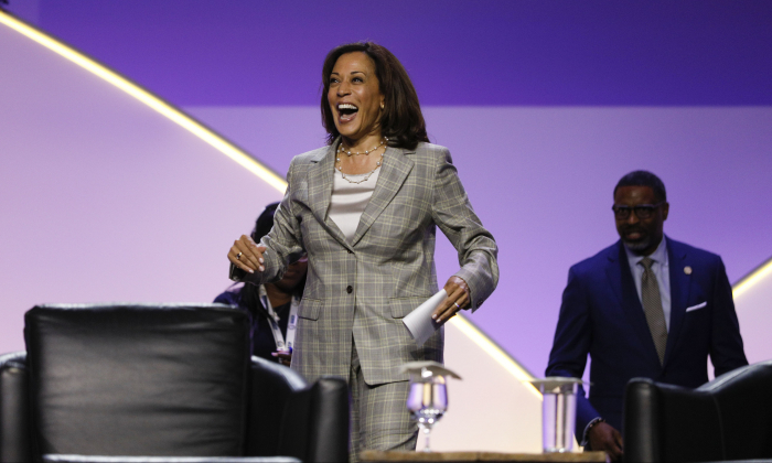 Democratic presidential candidate U.S. Sen. Kamala Harris (D-Calif.) participates in a Presidential Candidates Forum at the NAACP 110th National Convention in Detroit, Mich., on July 24, 2019. (Bill Pugliano/Getty Images)