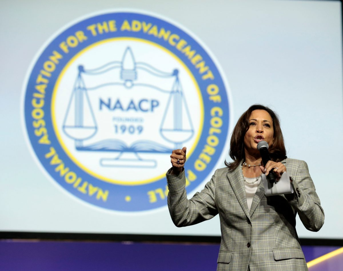 Democratic presidential hopeful Kamala Harris speaks