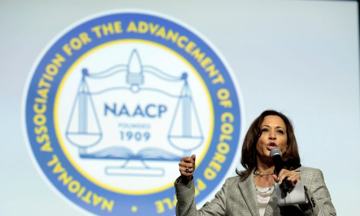 Democratic presidential hopeful Kamala Harris  addresses the Presidential Forum at the NAACP's 110th National Convention at Cobo Center in Detroit, Michigan on July 24, 2019. (Jeff Kowalsky/AFP/Getty Images)