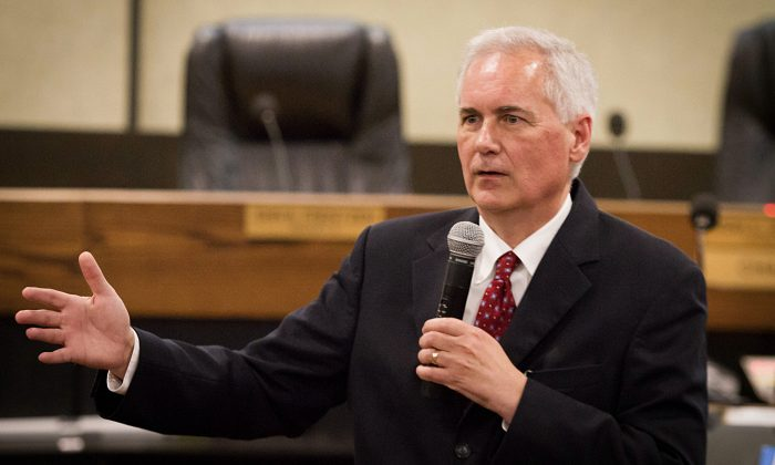 Tom McClintock (R-Calif.) speaks at Placerville Town Hall in Placerville, Calif., on June 30, 2015. (Courtesy of Tom McClintock)