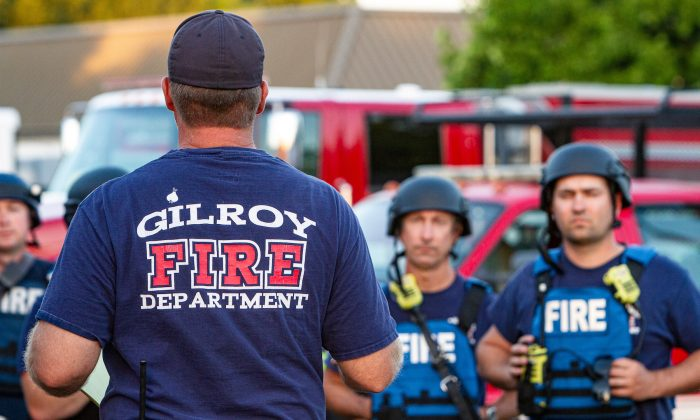Emergency personnel work at the scene of a mass shooting during the Gilroy Garlic Festival in Gilroy, California on July 28, 2019. (Chris Smead/Reuters)