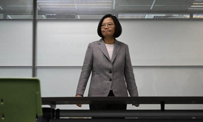Taiwan's President Tsai Ing-wen arrives to register as the ruling Democratic Progressive Party (DPP) 2020 presidential candidate at the party's headquarter in Taipei on March 21, 2019. (Sam Yeh/AFP/Getty Images)