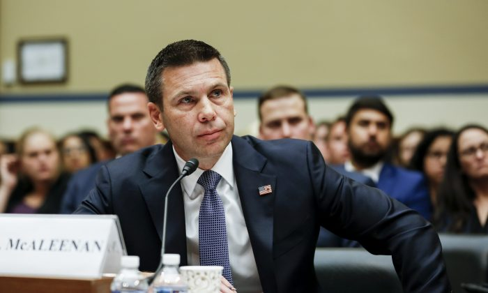 Acting Secretary of Homeland Security Kevin McAleenan testifies at a House hearing in front of the Committee on Oversight and Reform, in Washington on July 12, 2019. (Charlotte Cuthbertson/The Epoch Times)