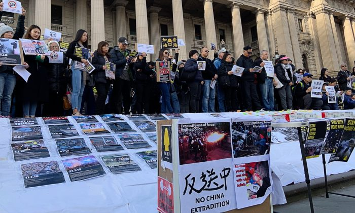 Hong Kong Rally on the steps of Victoria Parliament in Melbourne, Australia on 28 July, 2019. (The Epoch Times)