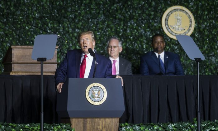 President Donald Trump delivers remarks during the 400th anniversary celebration of the first representative legislative assembly at Jamestown, Virginia, on July 30, 2019. (Zach Gibson/Getty Images)
