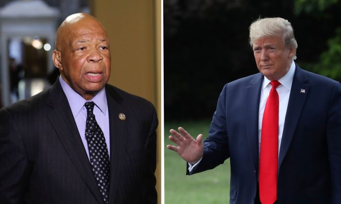 Rep. Elijah Cummings (D-MD) speaks to the media on May 17, 2017 in Washington, DC. (Mark Wilson/Getty Images); President Donald Trump (R) gestures to the media before departing from the White House on July 24, 2019. (Mark Wilson/Getty Images)