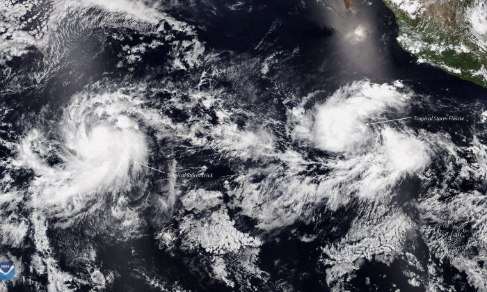 Tropical storm Erick and Flossie in the eastern Pacific. (NOAA)