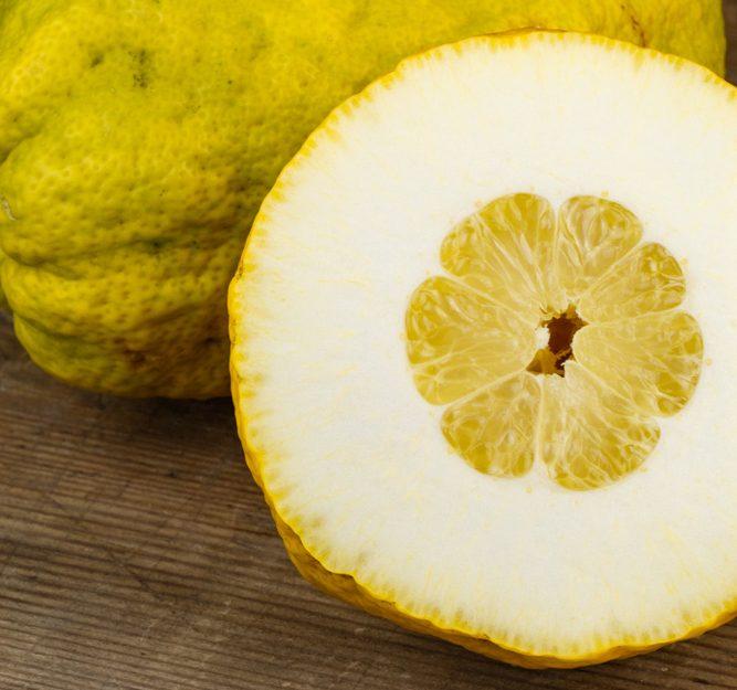 citron fruit cut in half