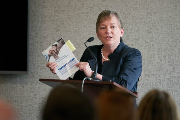Justice Eileen E. Gillese, Commissioner of the Public Inquiry into the Safety and Security of Residents in the Long-Term Care Homes System delivers her report in Woodstock, ON., July 31, 2019. (Geoff Robins/The Canadian Press)