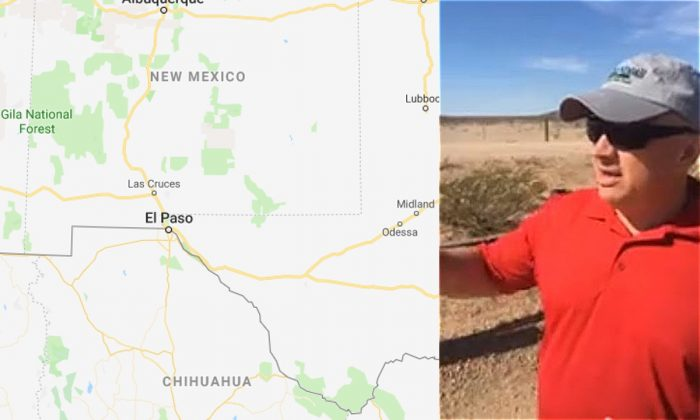 Google map of the southern border between  El Paso and New Mexico (Google Maps) and an image of Congressman Denver Riggleman at the border. (Media Release/Denver Riggleman)