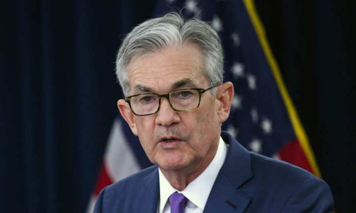 Federal Reserve Chairman Jerome Powell speaks during a press conference after a Federal Open Market Committee meeting in Washington, on July 31, 2019. (Andrew Caballero-Reynolds/AFP/Getty Images)
