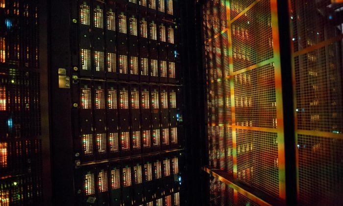 """A """"Mistral"""" supercomputer, installed in 2016, at the German Climate Computing Center (DKRZ, or Deutsches Klimarechenzentrum) on June 7, 2017 in Hamburg, Germany. (Morris MacMatzen/Getty Images)"""