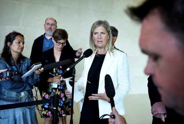 Conservative MP Leona Alleslev speak to reporters before an emergency meeting of the Standing Committee on Foreign Affairs and International Development to discuss a request to undertake a study of undue pressure on former career diplomats, in Ottawa on July 30, 2019. (Justin Tang/The Canadian Press)