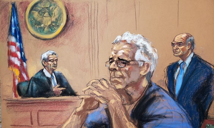 Jeffrey Epstein looks on near his lawyer Martin Weinberg and Judge Richard Berman during a status hearing in his sex trafficking case, in this court sketch in New York on July 31, 2019. (Reuters/Jane Rosenberg)