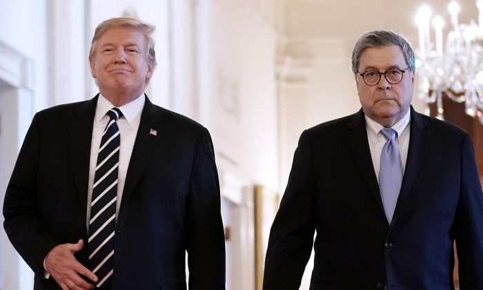 President Donald Trump (L) and Attorney General William Barr arrive together for the presentation of the Public Safety Officer Medals of Valor in the East Room of the White House on May 22, 2019. (Chip Somodevilla/Getty Images)