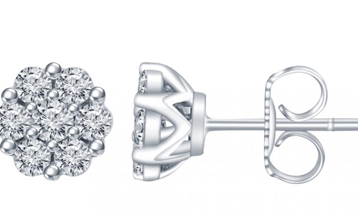 A diamond earring featuring lab-grown diamonds from ALTR. (Courtesy of Amish Shah)