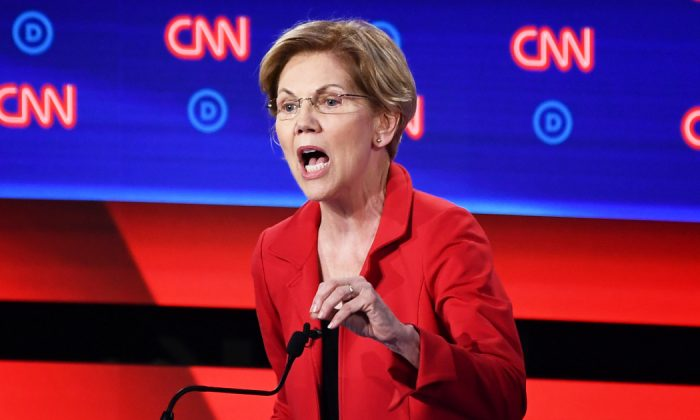 Democratic presidential hopeful former US Senator from Massachusetts Elizabeth Warren delivers her closing statement in the first round of the second Democratic primary debate of the 2020 presidential campaign season hosted by CNN at the Fox Theatre in Detroit, Michigan on July 30, 2019. (Brendan Smialowski/AFP/Getty Images)