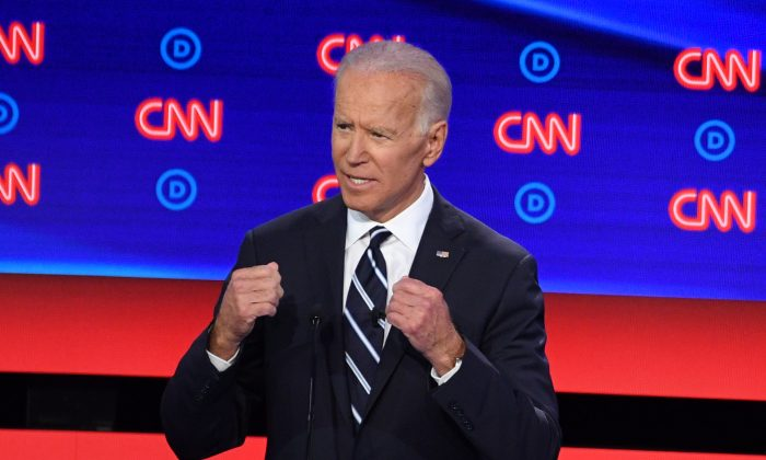 Democratic presidential hopeful Former Vice President Joe Biden speaks during the second round of the second Democratic primary debate of the 2020 presidential campaign season hosted by CNN at the Fox Theatre in Detroit, Mich., on July 31, 2019. (Jim Watson/AFP/Getty Images)