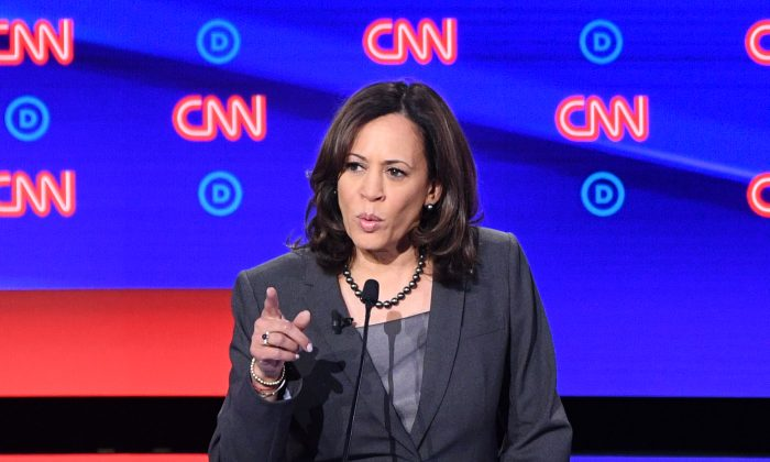 Democratic presidential hopeful US Senator from California Kamala Harris at the second Democratic primary debate of the 2020 presidential campaign season at the Fox Theatre in Detroit, Michigan on July 31, 2019. (JIM WATSON/AFP/Getty Images)