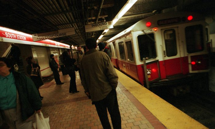 A Red Line train rolls into South Station in downtown Boston MA, U.S. on March 13, 2001. Boston's subway system is the oldest in the nation. (Darren McCollester/Newsmakers)