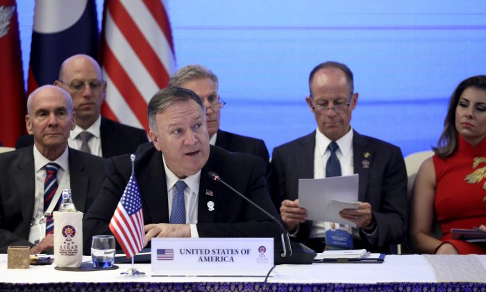 U.S. Secretary of State Mike Pompeo attends a meeting with Foreign Ministers of the Lower Mekong countries, Cambodia, Laos, Thailand, and Vietnam during the ASEAN Foreign Ministers' Meeting in Bangkok, Thailand on Aug. 1, 2019. (Jonathan Ernst/AP)