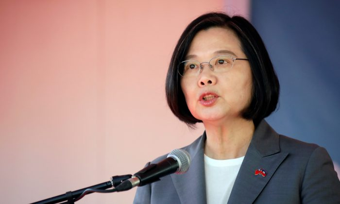 Taiwan's President Tsai Ing-wen speaks during her visit in Port-au-Prince, Haiti on July 13, 2019. (Andres Martinez Casares/Reuters)