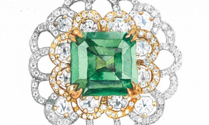 """""""Emerald Jewellery,"""" by Tom Bouwknegt, aged 9. Watercolor. (Courtesy of Tom Bouwknegt)"""