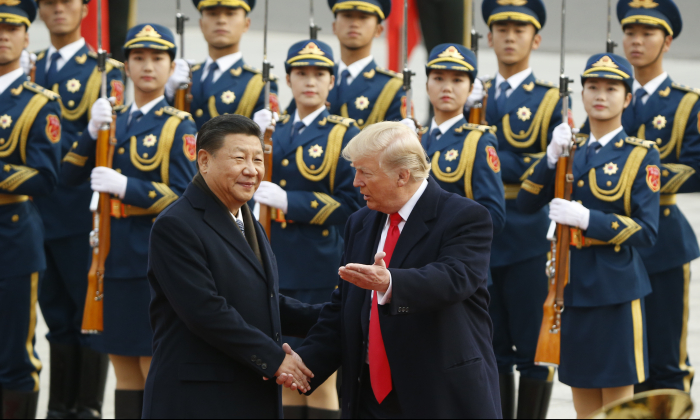 President Donald Trump takes part in a welcoming ceremony with China's President Xi Jinping on November 9, 2017 in Beijing, China. (Thomas Peter/Getty Images)