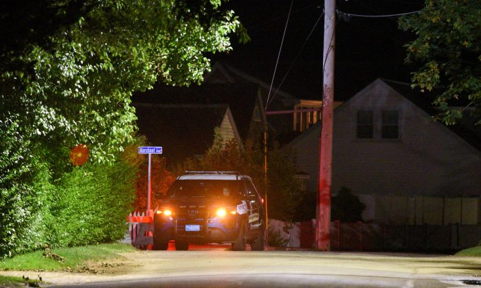 A Barnstable Police cruiser sits at the top of Marchant Avenue as police investigate the death of Saoirse Kennedy Hill, the granddaughter of the late Robert F. Kennedy, at the Kennedy Compound in Hyannis Port, Massachusetts, on Aug. 1, 2019. (Reuters/Faith Ninivaggi)