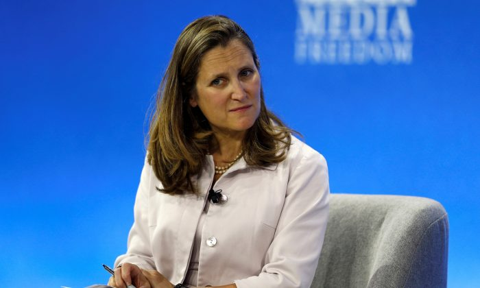 Canadian Foreign Minister Chrystia Freeland attends the Global Conference for Media Freedom in London, Britain on July 10, 2019. (Peter Nicholls/Reuters)