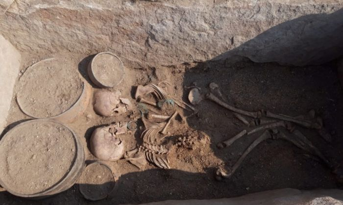 Remains of a young man and woman facing each other, was unearthed by archaeologists in central Kazakhstan. (Karaganda regional government)