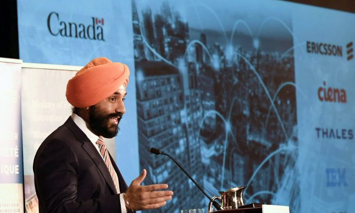Minister of Innovation, Science and Economic Development Navdeep Bains speaks during an announcement on investments in 5G technology by the Ontario, Quebec, and federal governments, in Ottawa on March 19, 2018. (The Canadian Press/Justin Tang)