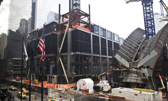 A view of the progess of Tower 3 at the World Trade Center in downtown Manhattan, New York, Jan. 13, 2014. (Samira Bouaou/Epoch Times)