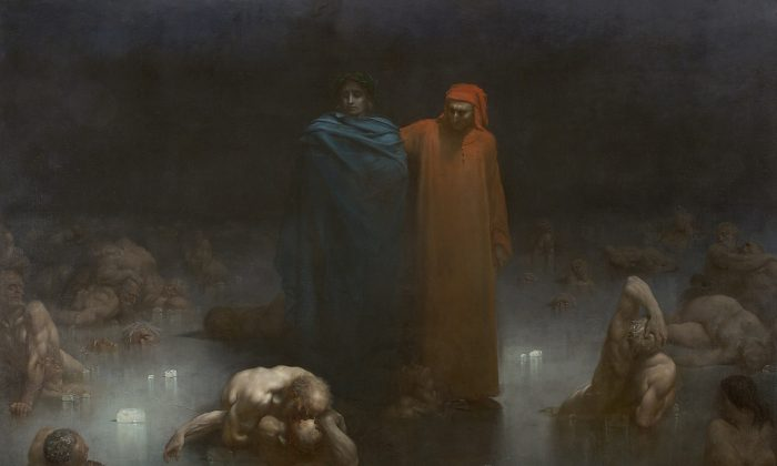 """Dante and Virgil in the Ninth Circle of Hell,"" 1861 by Gustave Doré. Oil on Canvas, 10.3 feet by 14.7 feet, Musée municipal de Bourge-en-Bresse. (Public Domain)"