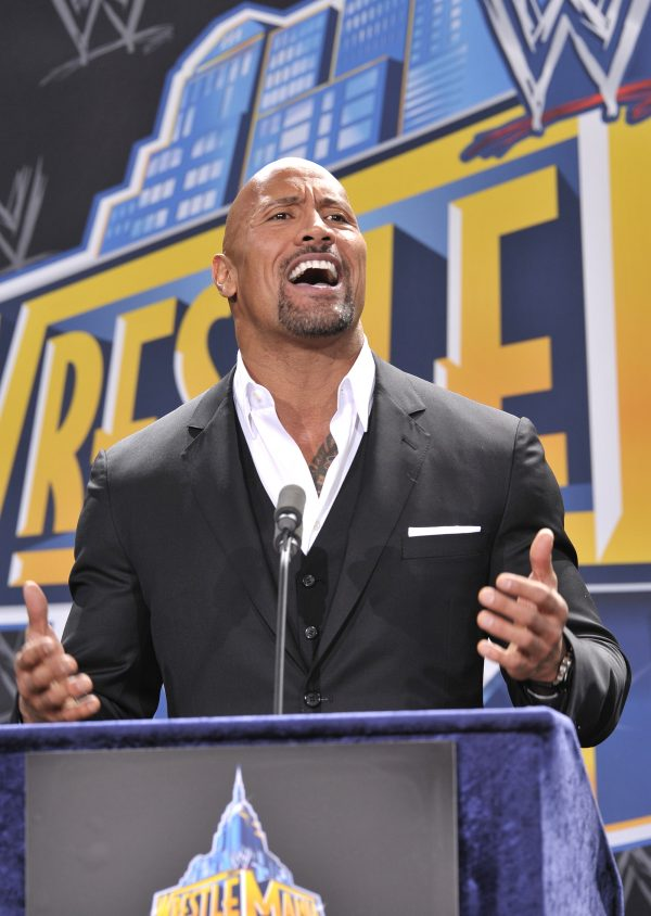 "Dwayne ""The Rock"" Johnson attends a press conference to announce that MetLife Stadium will host WWE Wrestlemania"