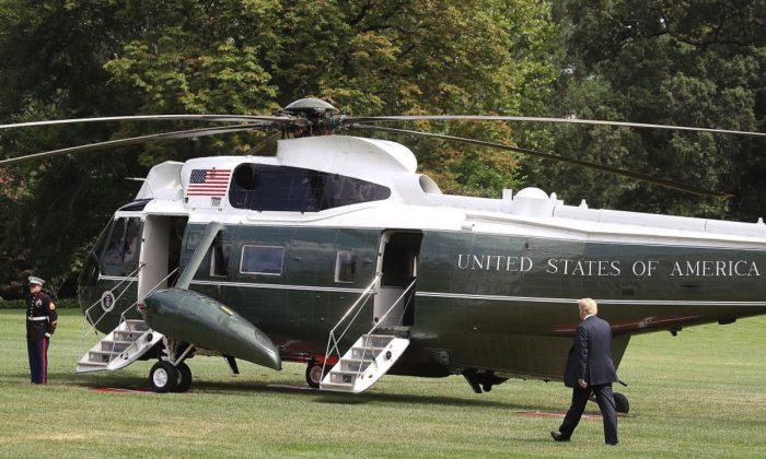 President Donald Trump walks to Marine One while departing from the White House on July 20, 2018 in Washington. (Mark Wilson/Getty Images)