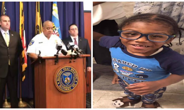 (L)-Baltimore Police Commissioner Michael Harrison and other officials announce the death of Malachi Lawson, 4, on Aug. 3, 2019. (R)-Malachi Lawson in a file photograph. (Baltimore Police Department)