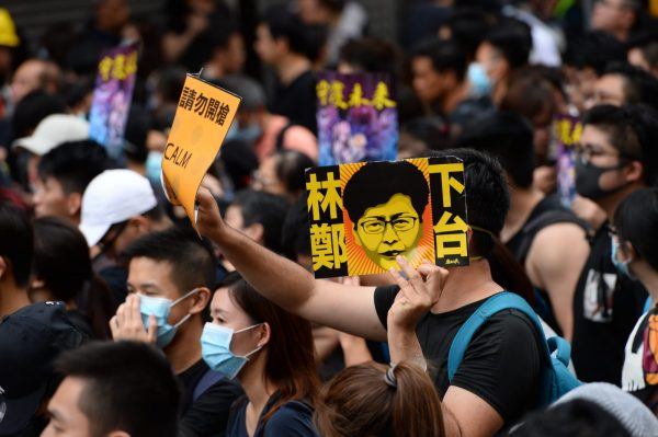 Carrie Lam Step Down sign