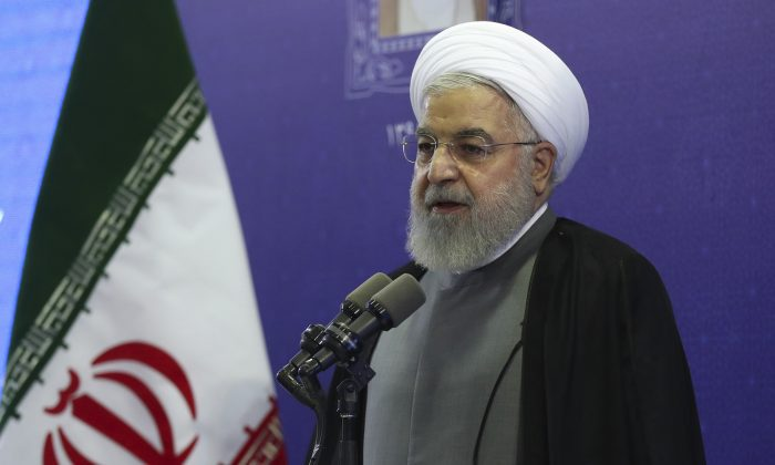 Iran President Hassan Rouhani speaks in the inauguration ceremony of a power plant in northwestern Iran, on Aug. 1, 2019. (Iranian Presidency Office via AP)