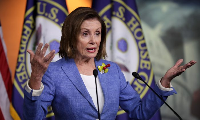 Speaker of the House Nancy Pelosi (D-Calif.) at the U.S. Capitol Visitors Center in Washington on July 26, 2019. (Chip Somodevilla/Getty Images)
