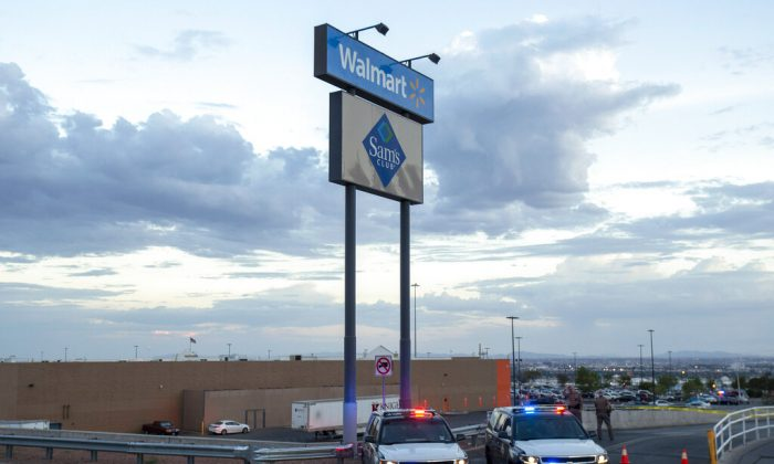 Texas state police cars block the access to the Walmart store in the aftermath of a mass shooting in El Paso, Texas on Aug. 3, 2019. (Andres Leighton/AP Photo)