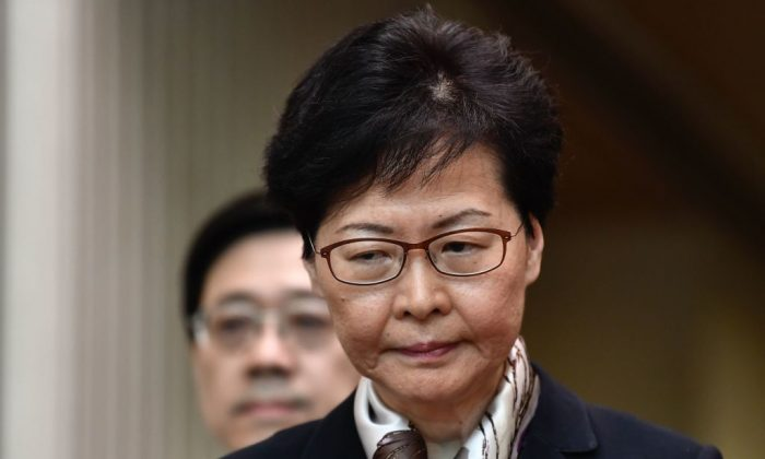 Hong Kong Chief Executive Carrie Lam reacts during a press conference in Hong Kong on Aug. 5, 2019. (ANTHONY WALLACE/AFP/Getty Images)