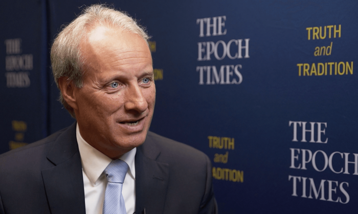 Kelly Shackelford, president of First Liberty Institute, being interviewed in April 2019. (The Epoch Times)