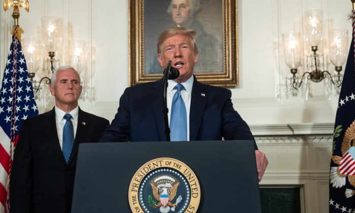 President Donald Trump speaks alongside Vice President Mike Pence about the mass shootings from the Diplomatic Reception Room of the White House in Washington on Aug. 5, 2019. (SAUL LOEB/AFP/Getty Images)