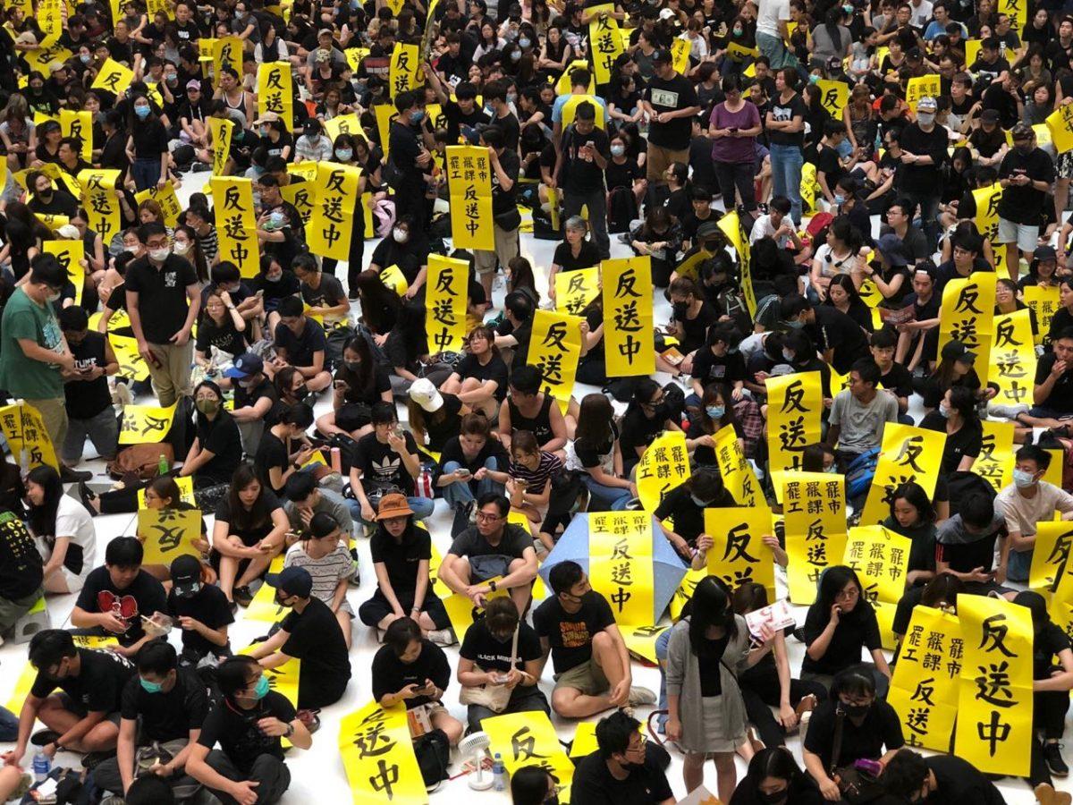 hong kong protest banner yellow