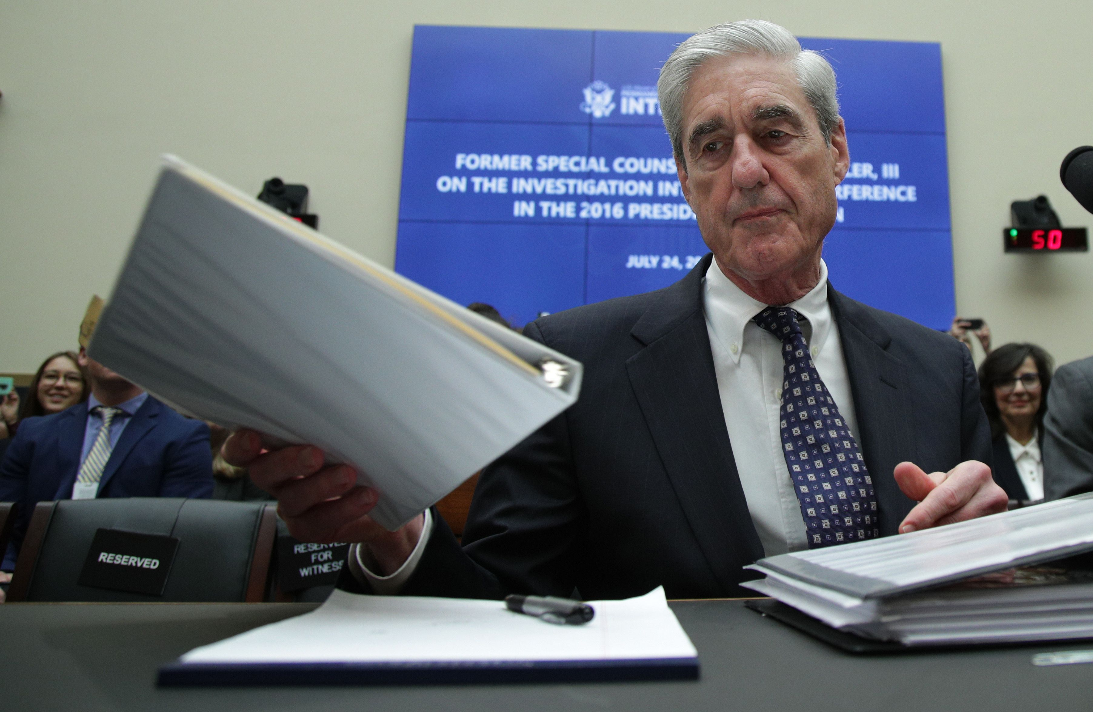 Former Special Counsel Robert Mueller in the Rayburn House Office Building in Washington
