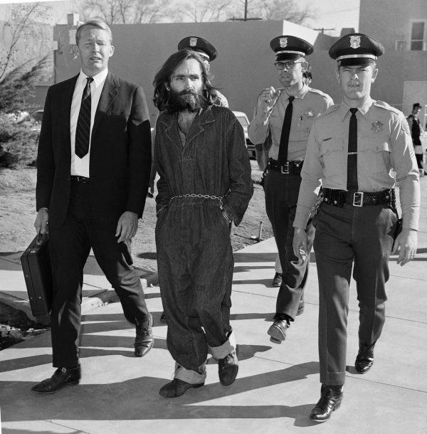 Charles Manson en route to court