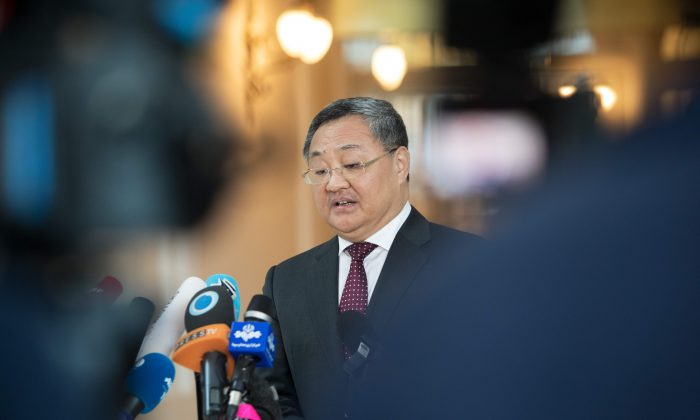 Fu Cong, Chinese military official at the Ministry of Foreign Affairs, speaks to the media at the Palais Coburg in Vienna, Austria, on July 28, 2019. (Alex Halada/AFP/Getty Images)